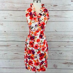 London Times ruffle neckline floral sheath  dress